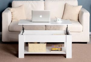 Lift Top Coffee Table with Hidden Compartment and Storage Shelf