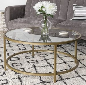 36in Round Tempered Glass Coffee Table